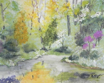 Original Watercolor Landscape Painting, Spring Colors along a Stream