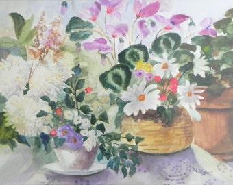 Original Watercolor Still Life Floral Painting