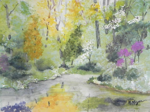 Original Watercolor Landscape Painting Spring Colors along a