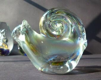 Vintage art glass paper weight, Iridescent Snail