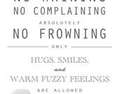 8X10 - No Whining, No Complaining Print CUSTOM CLOVER