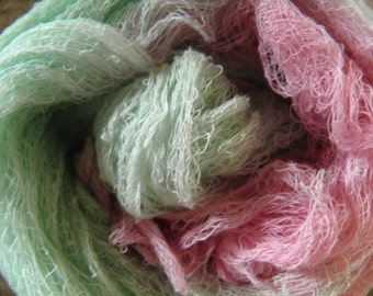 Hand Dyed Cheese Cloth -  Pink and Green