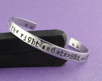 SALE - Second Star To The Right and Straight On Till Morning Hand Stamped Cuff Bracelet - Aluminum Adjustable Bracelet
