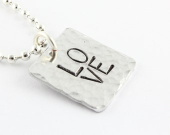 SALE - LOVE Necklace -Silver Necklace - Hand Stamped Minimalist Simple Necklace - Mother's Day Gift - Gift for Her