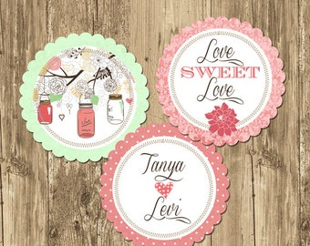 Mason Jar Spring Bridal Shower Party Rounds Cupcake Toppers- Printable