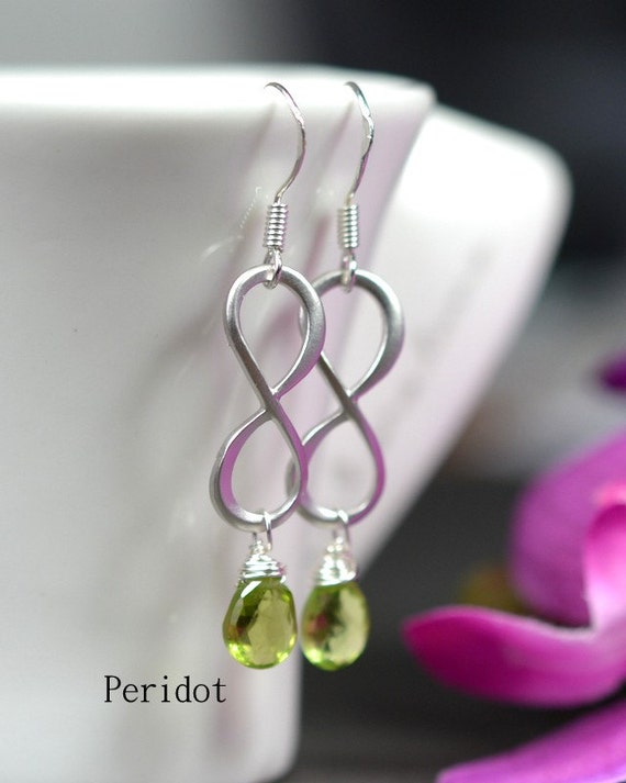 Infinity earrings.Peridot green jewelry. Bridesmaid gifts.Mother of the bride groom.Bridesmaid cards.sisters.best friends ,wedding jewelry