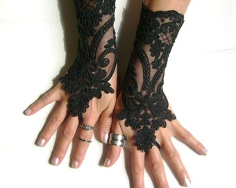 Black lace gloves french lace  bridal gloves lace wedding fingerless gloves black gloves burlesque  vampire glove