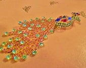 Multicolored Rhinestone Peacock / Vintage
