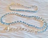 Reinad SET / Bracelet / Choker Necklace / Blue Channel-Set Rhinestones