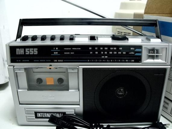 new vintage 80s retro silver portable radio cassette recorder. Black Bedroom Furniture Sets. Home Design Ideas