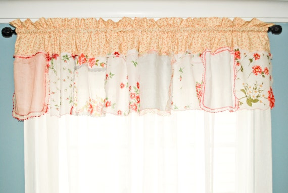 kitchen curtain valance in coral floral floral