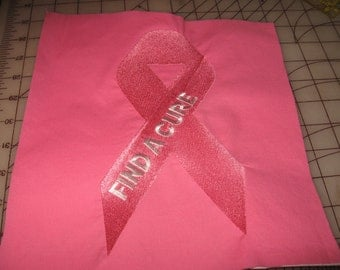 Machine Embroidered  Breast Cancer Quilt Block