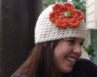 READY TO SHIP: Chunky Beanie Hat with Orange Flower and Button Center