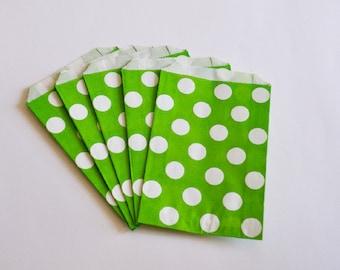 10 Sacchetti di carta pois verdi / Green Polka Dots Paper Bags (10 paper bags per pack)
