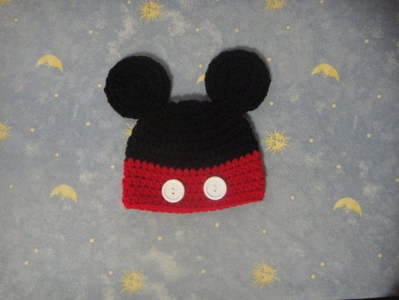 Baby Crochet Mouse Hat, Red and Black Hat, Children Beanie