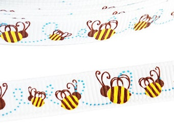 Bee Ribbon for Sewing / Crafts / Clips / Hairbows (10 Yards White Grosgrain with Buzzing Bees Prints)