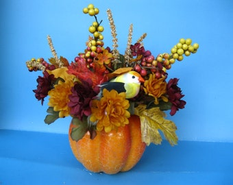 Fall Floral Centerpiece silkflowers arrangement with pumkin gourd and bird ooak