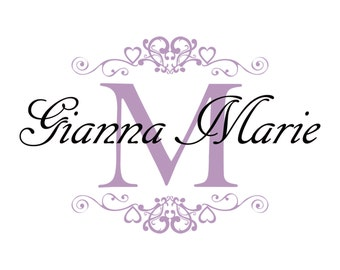 Name Wall Decal - Shabby Chic Heart Frame Personalized Name & Initial Decal for Baby Girl Nursery Vinyl Wall Art GN024
