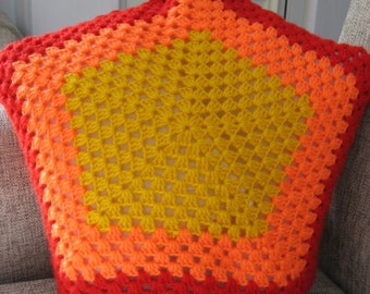 Afgan Granny Square Style Yelolow, Orange and Red Star Cushion. Ready to Ship.