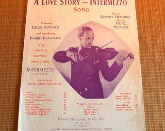 Vintage Sheet Music; Intermezzo Leslie Howard Several Available from 1930's-1940's
