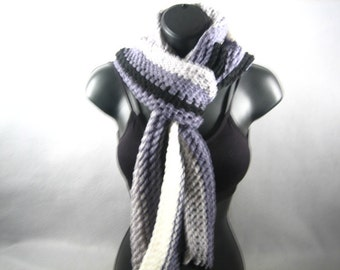 Knitted Black Striped Scarf -Handmade