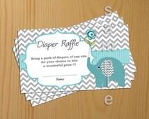 Elephant Baby Shower Diaper Raffle Ticket Diaper Raffle Card Diapers Raffles Printable Digital Files  (57)