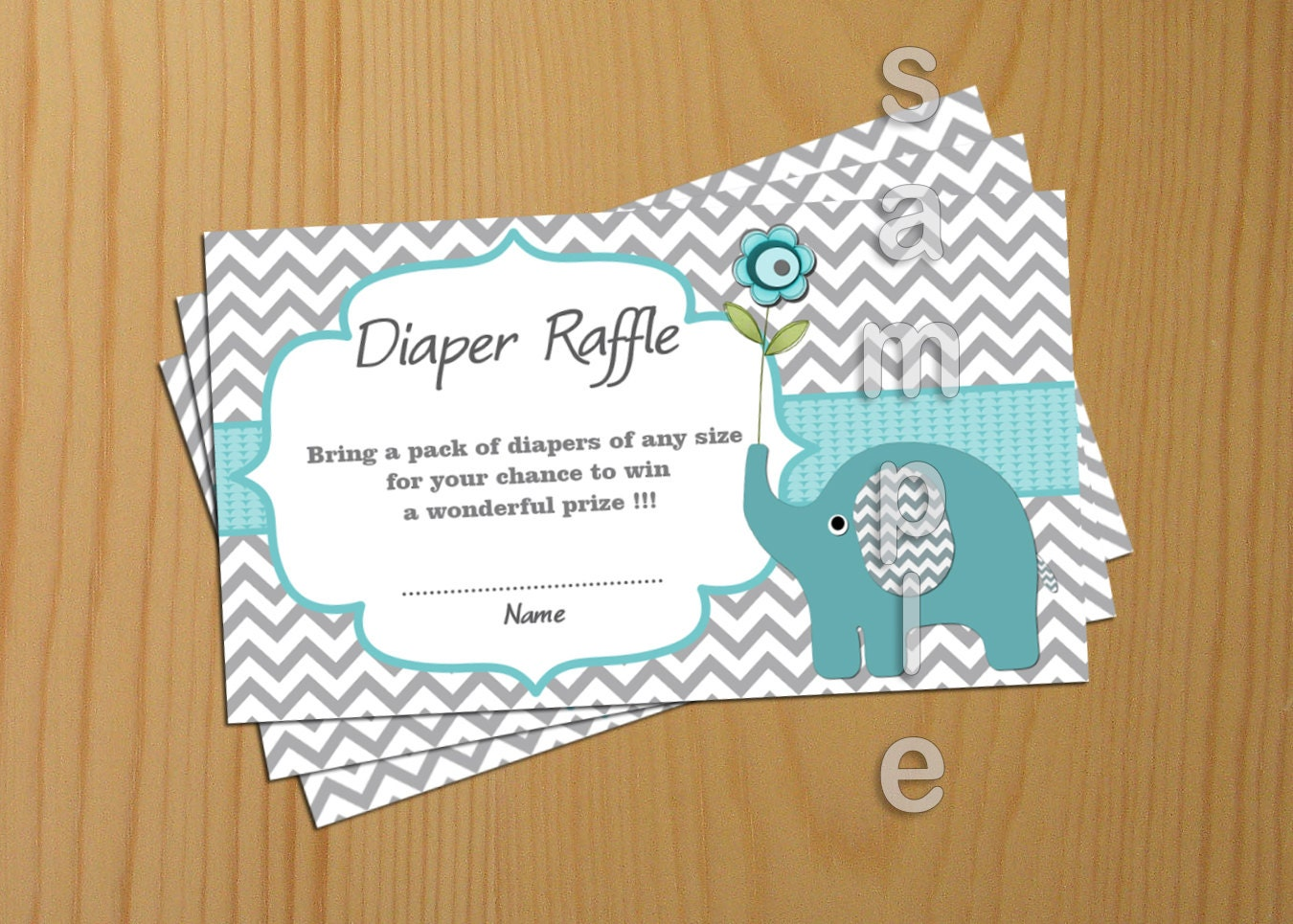 elephant baby shower diaper raffle ticket diaper raffle card 🔎zoom