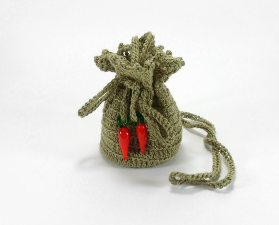 Mini Crochet Bag : Mini Crochet Pouch, Jewelry Bag with Drawstring, Green Gift Bag