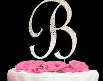 Large Rhinestone Crystal Monogram Letter  B  Wedding Cake Topper 5 inches tall