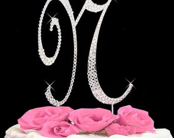 Large Rhinestone Crystal Monogram Letter  N  Wedding Cake Topper 5 inches high