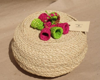 Round Coiled Basket with Colorful Flowers on the Cover
