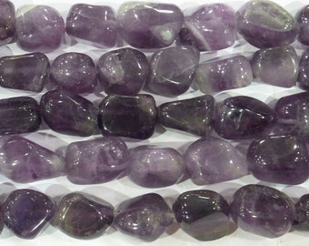 10-25mm Nugget Amethyst Semi Precious Gemstone 15''L 6132