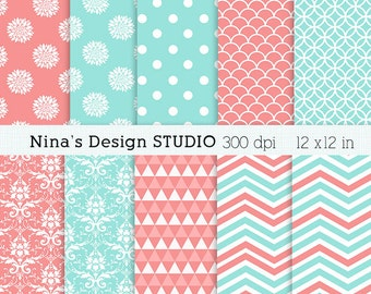 50% SALE INSTANT DOWNLOAD Coral and Dusty Aqua paper pack  for Personal and Commercial use Scrapbooking