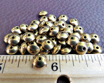 Solid Brass Saucer Beads 7mm x 4mm (100 pieces)