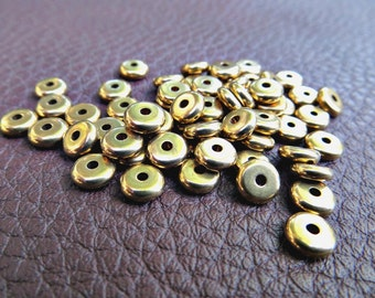 6mm Solid Brass Flat Disc Spacer Beads (100 pieces)