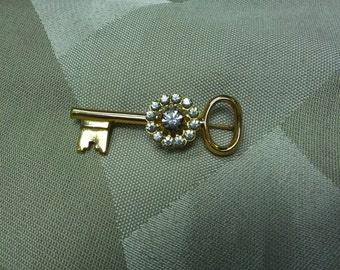 Coro Pegasus Gold Tone and Rhinestone Key Brooch