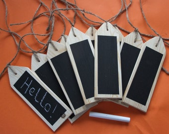 10 Wooden gift tags for Christmas or Birthday presents with a chalkboard face for your personal message.