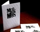 Handmade Card Set of (5) - Mr and Mrs - Wedding - Bridal Shower - Anniversary