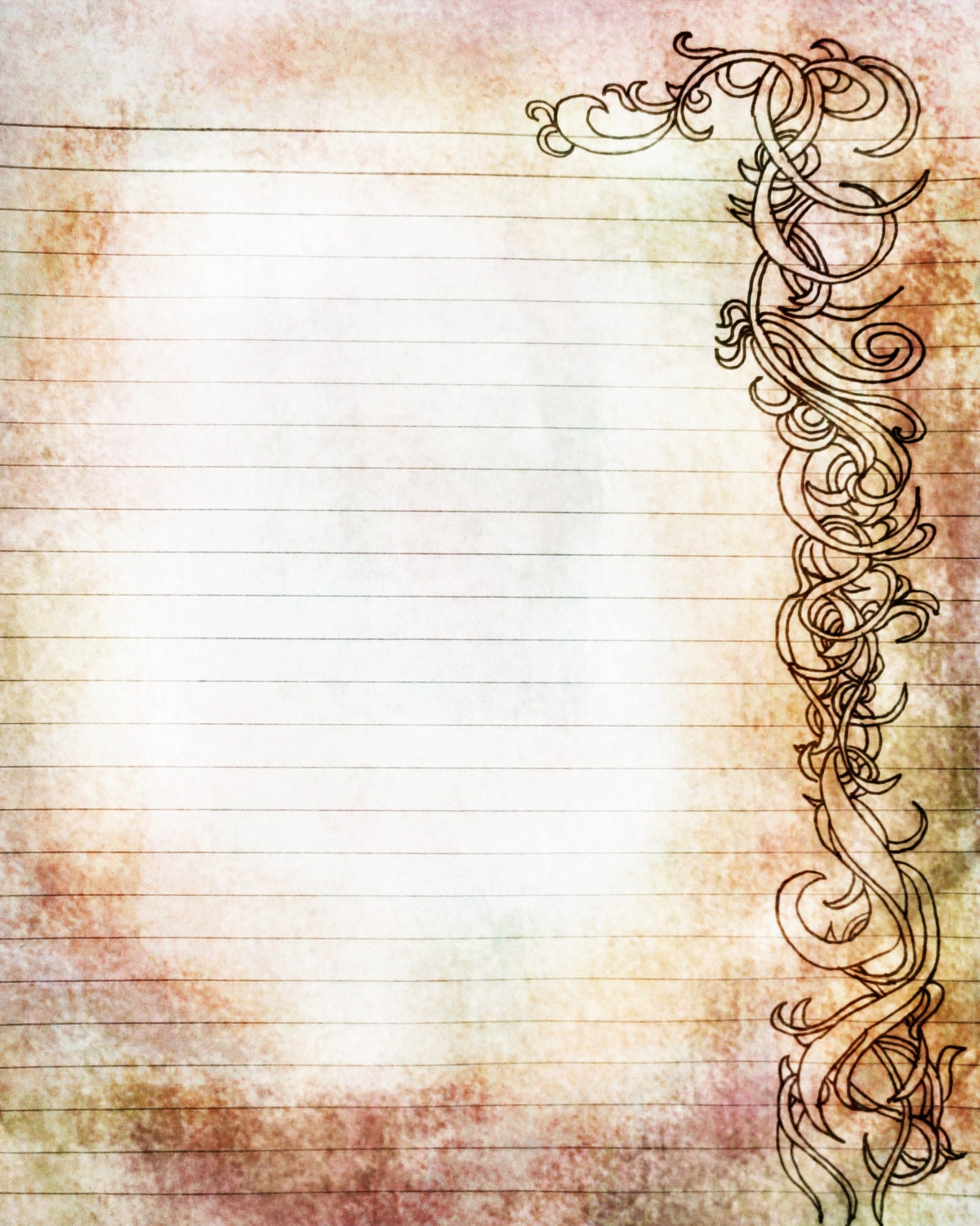 Printable Amber and Rose Colored Filigree Lined Journal Page
