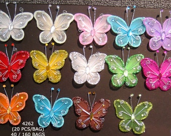 "2"" Nylon & Wire Glitter Gem Butterfly Decorations - Pkg 20 - 13 Color Choices"
