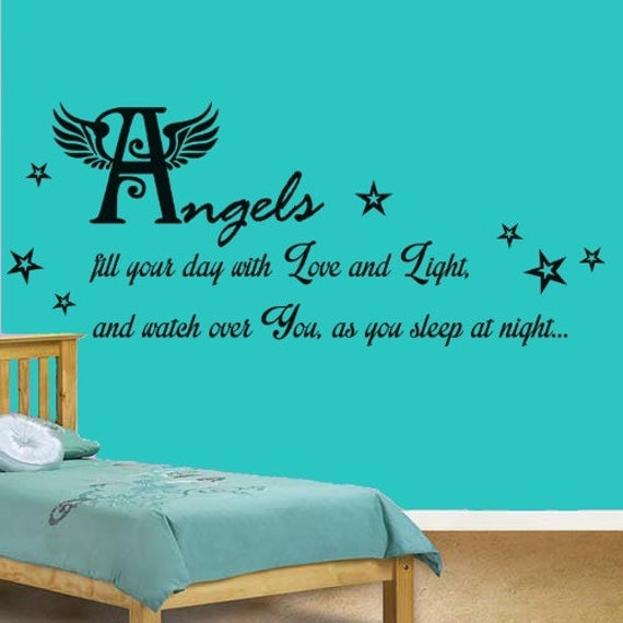 Items Similar To Angels Watch Over You Quote, Nursery
