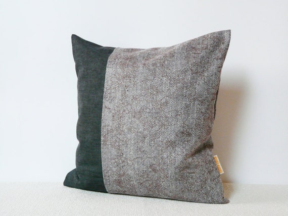 Grey Herringbone Throw Pillow : Throw pillow Lilac herringbone and grey fabric by YellowPillow