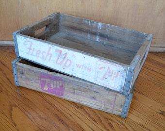 Two Vintage 7-Up Soda Crates