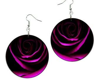 Rose - handmade earrings - decoupage