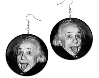 Albert Einstein - handmade earrings - decoupage