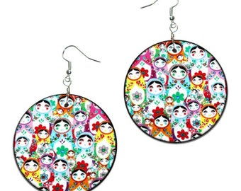 Matryoshka - Russian Doll - handmade earrings - decoupage