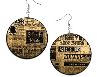 Newspaper - handmade earrings - decoupage, Newspaper Jewelry, Hypoallergenic Earrings
