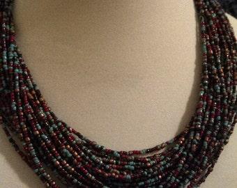 Multi Strand Bead necklace and bracelet