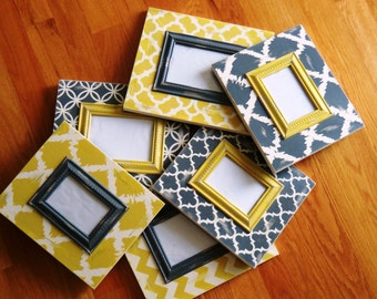 set of 6 distressed chevron and moroccan grey and yellow 6 frame collage 3 4x6 and 3 5x7