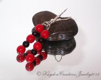 Earrings, Black and Red Beaded Earrings